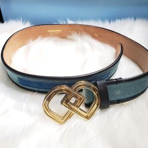 Dsquared DD Blue Velvet and Leather Belt
